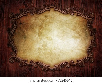 vintage classical frame on wooden background