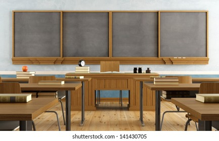 Vintage classroom without student with wooden furniture and big blackboard - rendering