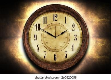 Vintage Clock Abstract Illustration. Clock on Grunge Wall.