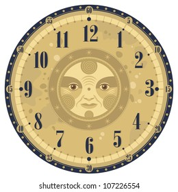 vintage clock face template zodiac signs stock vector royalty free