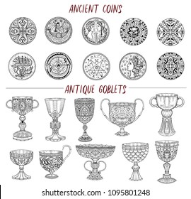 Vintage collection with ancient coins and antique goblets isolated on white. Hand drawn doodle engraved illustrations with graphic drawings
