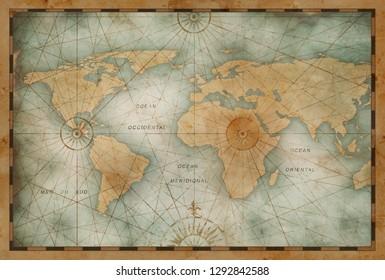 vintage color world map illustration based on image furnished by NASA