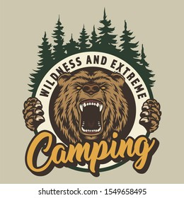 Vintage colorful camping round print with ferocious bear head and forest isolated illustration