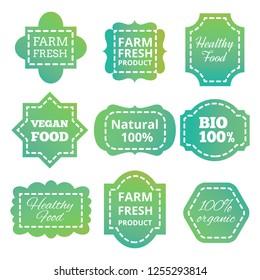 Vintage colorful natural organic bio product green tag, labels, emblems and badges