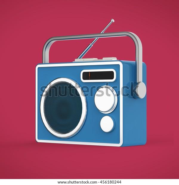 Vintage Colorful Radio Tuner Receiver 3d Stock Illustration