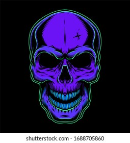 Vintage colorful skull concept on dark background isolated  illustration