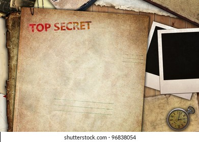 Vintage composition, top secret folder for papers