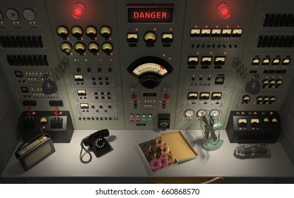 Vintage control room panel with lots of lights, gauges, knobs and buttons showing danger warnings high angle. 3D illustration