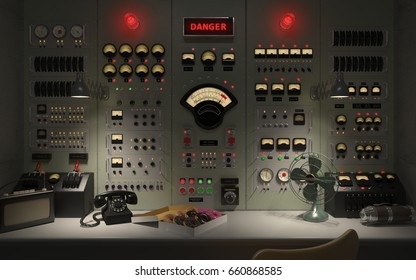 Vintage control room panel with lots of lights, gauges, knobs and buttons showing danger warnings. 3D illustration