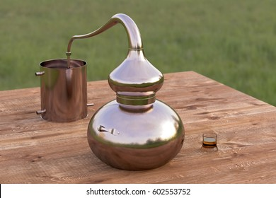 Vintage copper home distilling still pot or alembic with glass of whiskey on wooden table. 3d render
