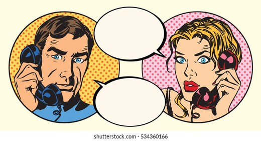 Vintage couple man and woman talking on the phone pop art retro