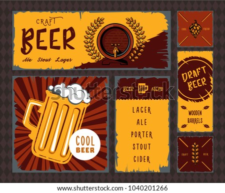 vintage craft beer banner set illustrationのイラスト素材 1040201266