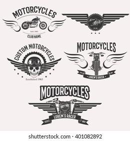 Vintage custom motorcycle racer stars logo set isolated on white background