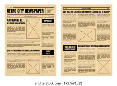 Vintage Daily Newspaper Template Sheets Set Old Style Design Include of Text, Column, Article and Advertising. illustration