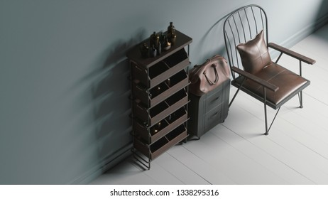Vintage decor with wooden shelves and old chair. Retro leather items. 3d illustration
