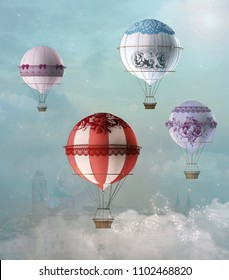 Vintage decorated fantasy hot air balloons fly over the clouds - 3D mixed media illustration