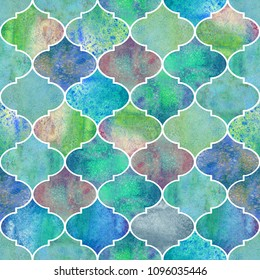 Vintage decorative moroccan seamless pattern. Watercolor hand drawn green teal blue purple endless texture background. Watercolour geometrical oriental elements. Print for textile, wallpaper, wrapping