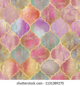 Vintage decorative moroccan seamless pattern with golden contour line. Watercolor hand drawn orange colorful stained-glass window design. Watercolour elements. Print for textile, wallpaper, wrapping.