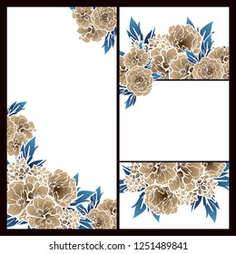 Vintage delicate greeting invitation card template design with flowers