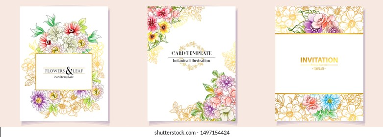 Vintage delicate greeting invitation card template design with flowers for wedding, marriage, bridal, birthday, Valentine's day.