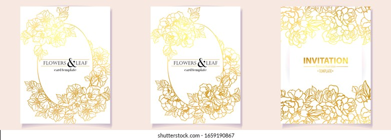 Vintage delicate greeting invitation card template design with flowers for wedding, marriage, bridal, birthday, Valentine's day