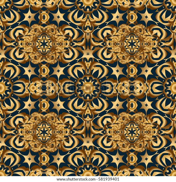 Vintage design in a blue and golden colors. Damask elegant wallpaper. Seamless pattern on a blue background.