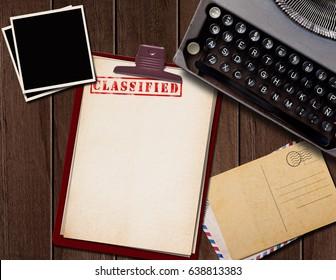 Vintage desk with top secret documents and photographs. 3D illustration.