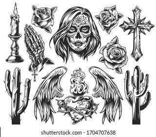 Vintage Dia De Los Muertos composition with burning candle roses religious cross angel wings cactuses fiery heart in wire girl face with day of the dead makeup isolated illustration