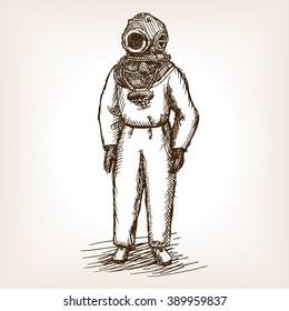 Vintage diver man with diving dress sketch style raster illustration. Old hand drawn engraving imitation. Vintage antique diver