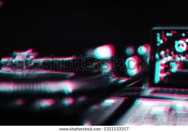 Vintage Dj Tun Table Player Edited Stock Illustration 1321133357
