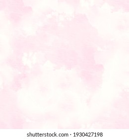 Vintage Doodle Drawing. Gentle Pink Fabric Printed Texture. Rose, White Marbled Effect. Mixing Paints Image. Delicate Tie Dye Seamless Pattern.