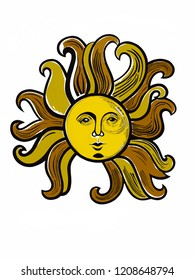Vintage Drawing of a Sun