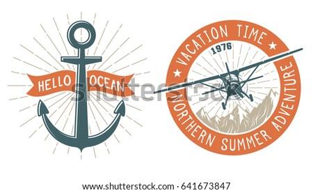 Vintage Emblem Aircraft Anchors Symbols Navy Stock Illustration