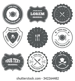 Vintage emblems, labels. Plate dish with forks and knifes icons. Chief hat sign. Crosswise cutlery symbol. Dining etiquette. Design elements.