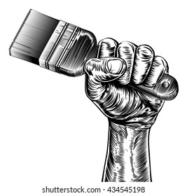 A vintage etched woodcut style fist holding up a paintbrush