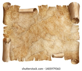Vintage Europe map parchment isolated on white. Based on image furnished from NASA.