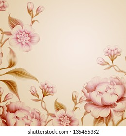 vintage fantasy peony spring flowers and leaves background