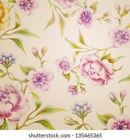 vintage fantasy peony spring flowers and leaves background pattern