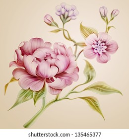 vintage fantasy peony spring flowers and leaves isolated