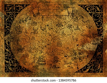 Vintage fantasy world map with pirate ship, compass, dragons on old paper texture. Hand drawn graphic illustration, old transportation background in vintage style