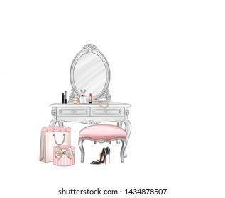 Vintage fashion baroque elegant white commode dressing table with pink ottoman, cosmetics, brushes, lipstick, mascara. Pink hat box, beauty table