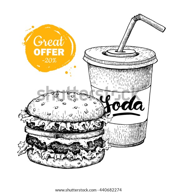 Vintage fast food special offer. Hand drawn monochrome junk food illustration. Soda and burger. Great for poster, banner, voucher, coupon, business promote.