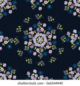 Vintage feedsack pattern in small flowers. Millefleurs. Floral sweet dark blue seamless background for textile, cotton fabric, covers, wallpapers, print, gift wrap and scrapbooking. Raster copy.