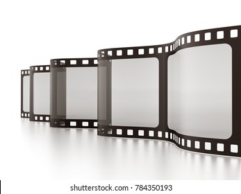 Vintage film strip isolated on white background. 3D illustration.