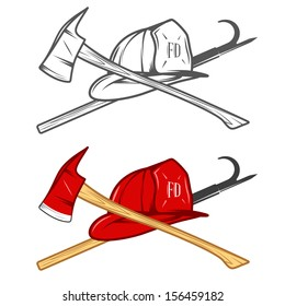 Vintage firefighter helm with crossed axe and pike pole