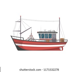 Vintage fishing boat side view isolated icon. Sea or ocean transportation, marine ship for industrial seafood production illustration in flat style.