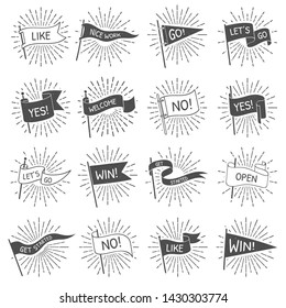 Vintage flag banner. Hand drawn retro flags welcome, lets go and get started scroll banners with starburst rays. Sun ray patriotic strike text flag isolated  symbols set
