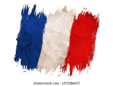 Vintage flag of France. Drawing France flag.