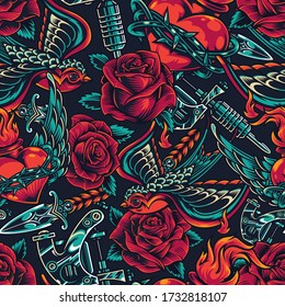 Vintage flash tattoos designs seamless pattern with roses tattoo machine flying swallow dagger fiery heart in barbed wire illustration