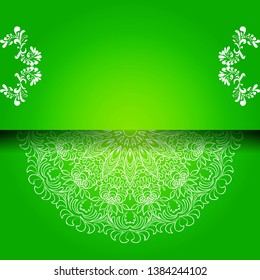 Vintage floral background, victorian green white ornament pattern, menu for your bisness raster